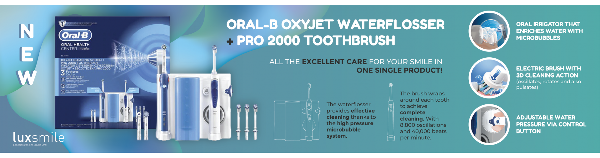 Oral-B Oxyjet Waterflosser + Electric Toothbrush Pro 2000